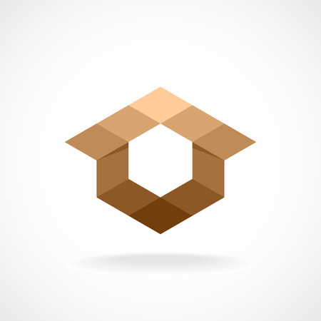 cottage house: Real estate logo template. Abstract rhombus concept.