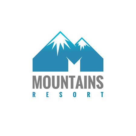 summit: M letter mountains logo template Illustration