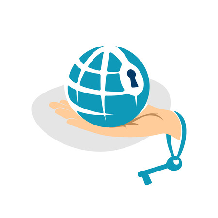 hands holding globe: Globe in the hand with key logo template Illustration