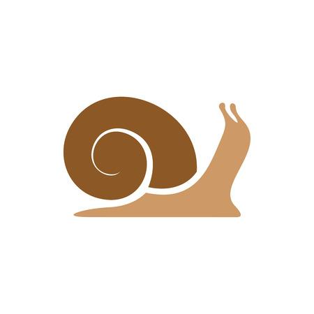 snail: Snail logo template. Simple flat colors silhouette. Illustration