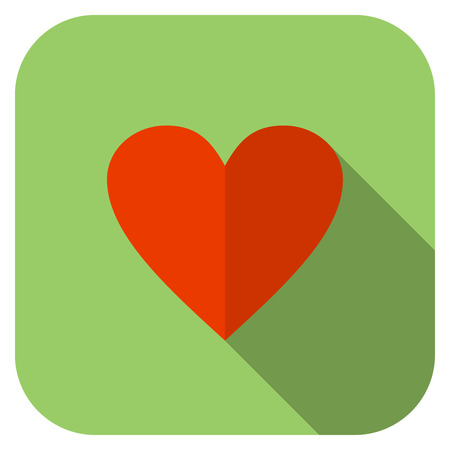 Flat heart icon. Green background with rounded corners.
