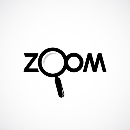 zoom: Zoom icon with letters. Magnifying glass are separate object.