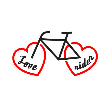 white heart: Bike with wheels shapes of the heart. Love rider. Illustration