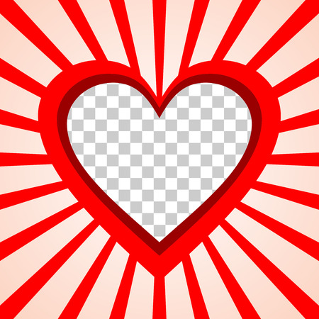 outbound: Valentine39s Day background frame with heart and rays from center template with photo placeholder.