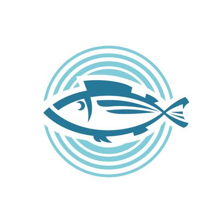 logo poisson: Modèle de logo poisson. Rond signe de fond. Illustration