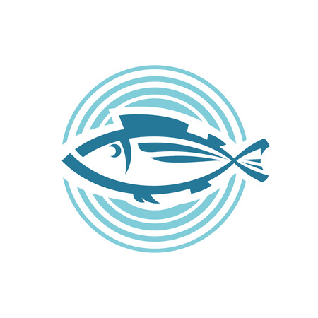 Fish logo template. Round background sign.