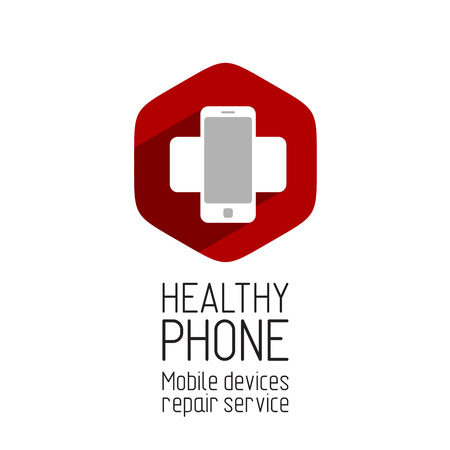 medical cross symbol: Phone repair service logo template