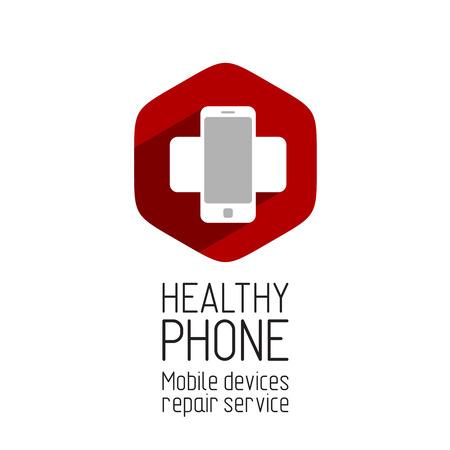 equipos medicos: Reparaci�n Tel�fono logotipo del servicio de plantilla