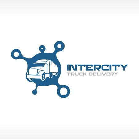 logo de comida: Cami�n de reparto logotipo del servicio plantilla. Intercity concepto de empresa de transporte.