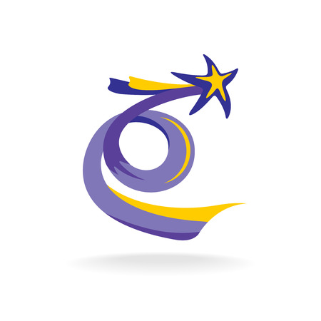 star trail: Rising star with spiral colorful tail vector illustration