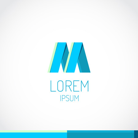 white letters: Trendy flat colors M letter logo template Illustration