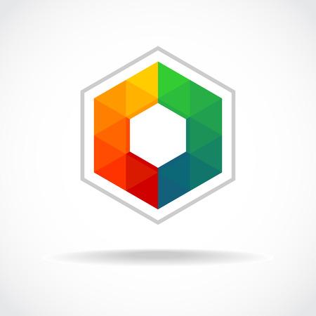 logotipo de construccion: Hexágono con triángulos de colores signo. Plantilla de logotipo abstracta.
