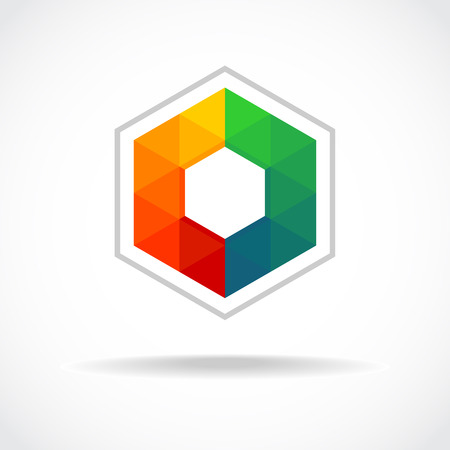 Hexagon with color triangles sign. Abstract logo template.