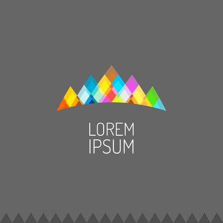 Levendige kleuren bergen logo of beroemdheid kroon teken