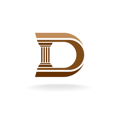 pillar: Letter D with column integrated sign. Lawyer business architecture designer logo template.