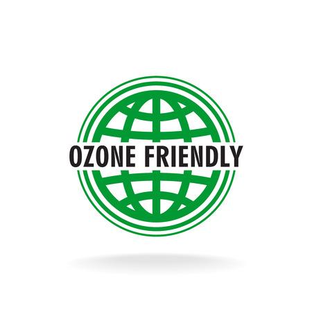 ozone friendly: Ozone friendly sign. Globe green symbol.