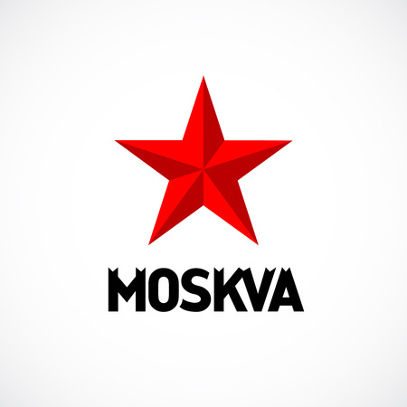 square logo: Moscow emblem with red star logo. Illustration