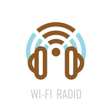 헤드폰과 무선 랜 기호 무선 인터넷 라디오 로고 템플릿입니다.