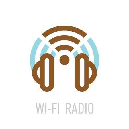 Radio: Wireless internet radio logo template with headphones and wifi sign.