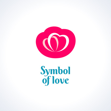 turquiose: Love symbol logo template. Two hearts.
