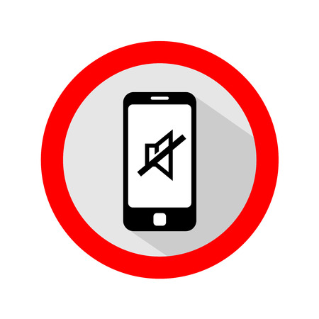 Mobile phone ringer volume mute sign