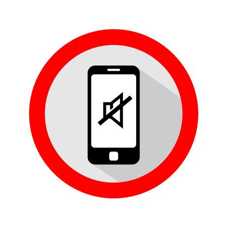Mobile phone ringer volume mute sign