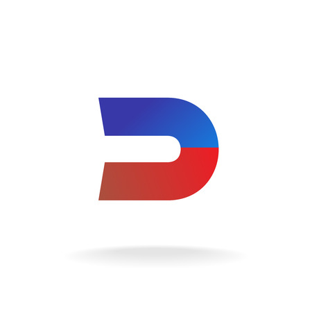 d: D letter logo template. Blue and red colors magnet concept. Illustration