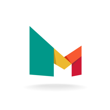 medical logo: Letter M logo template. Origami colorful style.