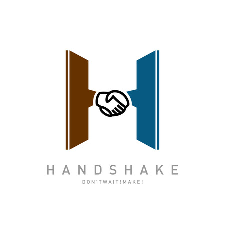 logo handshake: Letter H with handshake icon integrated logo template