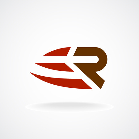 types: R letter logo template. Fast speed symbol. Rapid move.