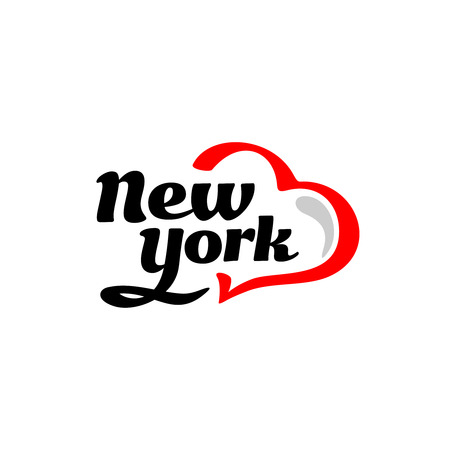 souvenir: New York with heart logo. Black and red. Illustration