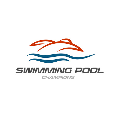 swimming silhouette: Swimming pool logo template