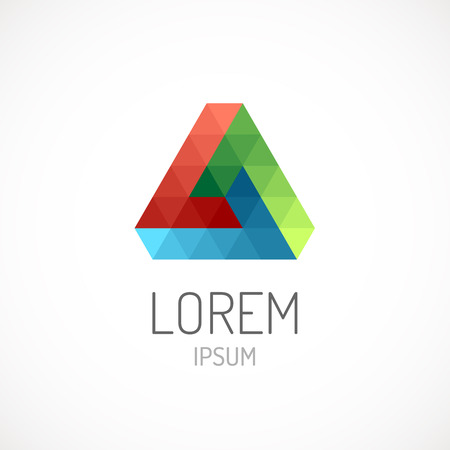 pyramid shape: Triangle abstract logo template icon. RGB colors. Infinite loop. Impossible figure.