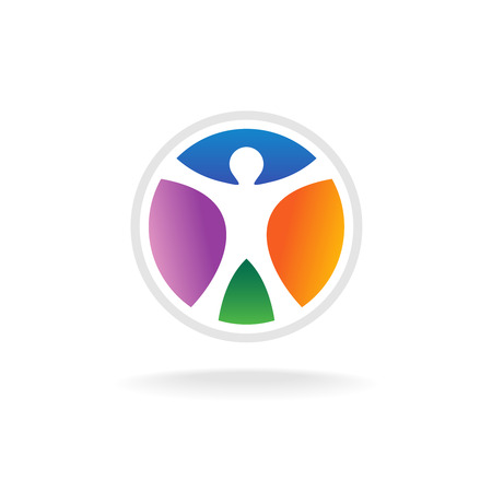 standing man: Standing man in the color circle logo template