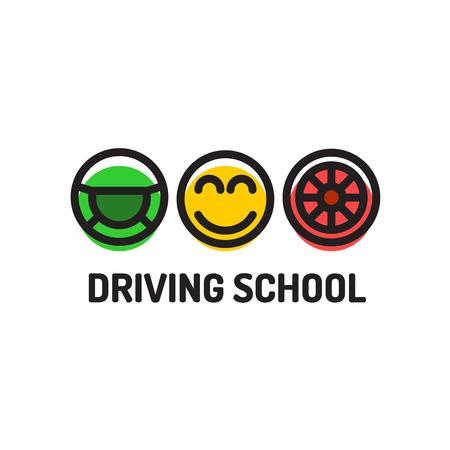 autoscuola: Scuola guida il marchio della mascherina. Simboli della ruota motrice volto sorridente e la ruota.