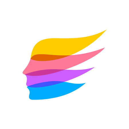 cabeza femenina: Cara de la mujer silueta logotipo de la plantilla. Cintas color concepto. Transparencia plana. Vectores