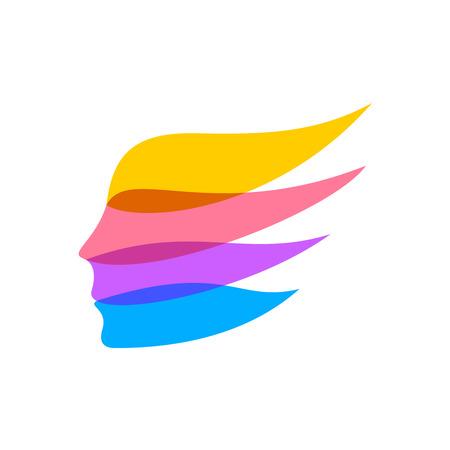 kunststoff: Frau Gesicht Silhouette Logo-Vorlage. Farbbänder Konzept. Wohnung Transparenz.