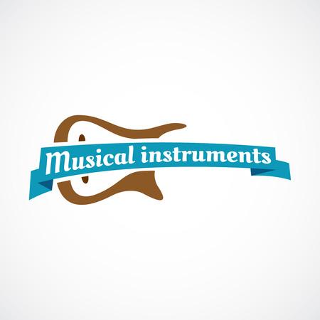 Logo musicale. Silhouette di chitarra con il nastro e il testo. Archivio Fotografico - 41639576