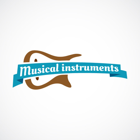 Musical logo. Guitar silhouette with ribbon and text.