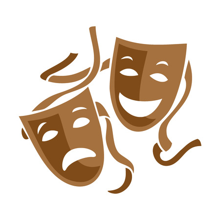 Comedy and tragedy theater masks illustration. Çizim