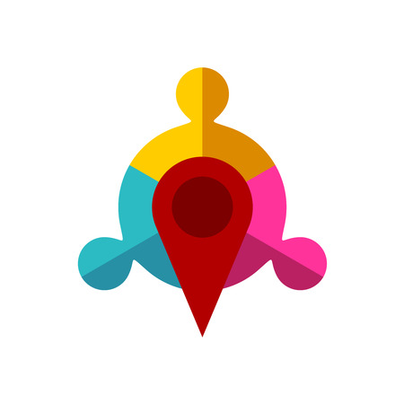 three points: Meeting point logo template. Map pointer with team of three sign. Illustration