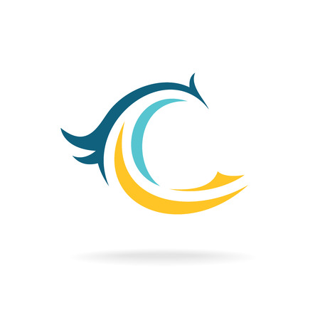 Bird silhouette logo template. C letter. Illustration