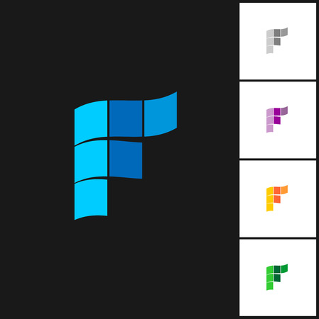 letter f: Letter F logo template with variations