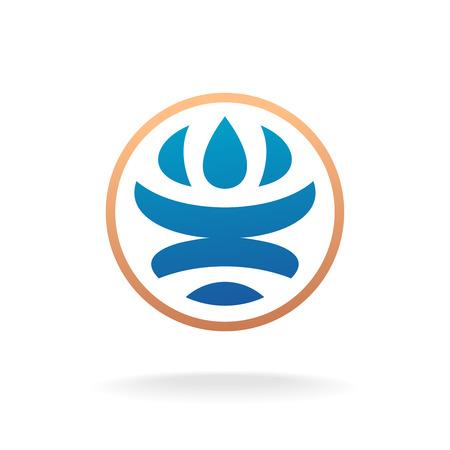 globe logo: Man silhouette inside Earth globe logo template