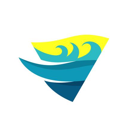 triangle flag: Sea waves and deep logo template triangle flag