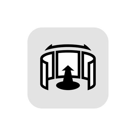panorama view: Panorama logo. Black outline icon. 360 degree view.