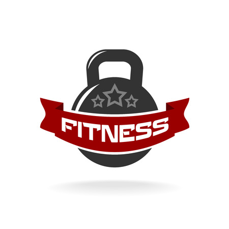 bodybuilding: Gym fitness weight logo template with ribbon for text