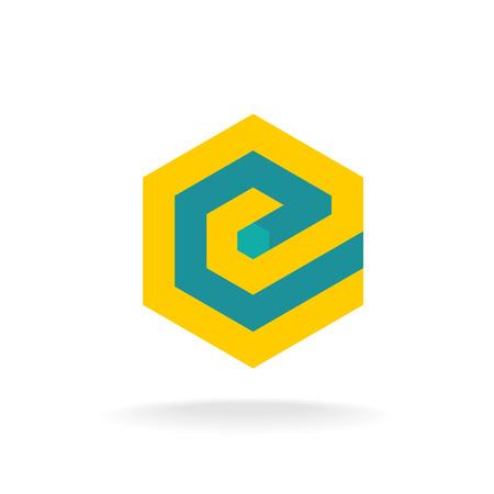 e card: Letter E logo template. Technical hexagonal style.