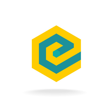logo batiment: Lettre E modèle de logo. Style technique hexagonale.
