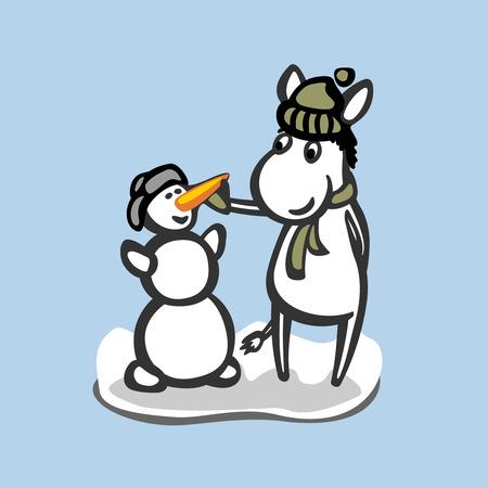funny donkey: Fun donkey with snowman. Winter season illustration.